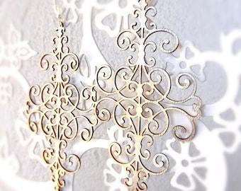 Laser cut leather earrings Filigree gold metallic leather earrings Gold metallic chandelier earrings Graceful gold earrings precut leather