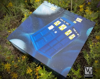 Tardis in Blue Nebula Box Painted