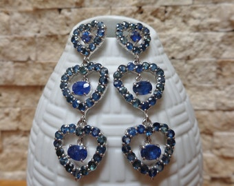 Blue Sapphire and Iolite heart earrings in Sterling Silver