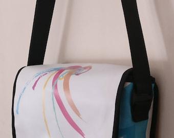 Medium Messenger bag, white messenger bag, colorful messenger bag, man bag, woman bag, Diaper bag, recycled, Crossbody, Christmas, 3001003