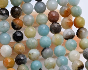 "6MM Faceted Amazonite Natural Gemstone Full Strand Round Loose Beads 15"" (100882-318)"