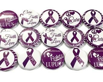 "Lupus Awareness Magnet, 1"", 1.25"", Button Magnet, Lupus Magnet, Lupus Button, Lupus Ribbon, Lupus Aware, Purple Ribbon Magnet, Lupus, Purple"