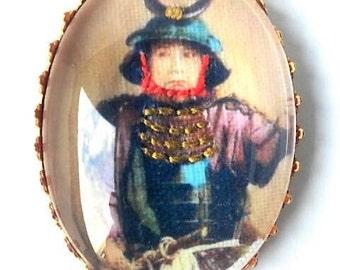 Samurai hand embroidered brooch