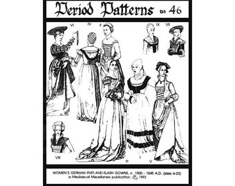 PP46 -  Woman's German Puff-and-slash Renaissance Sewing Pattern by PeriodPatterns