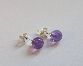 Stud Earrings AA Amethyst gemstones in a Sterling Silver post and butterfly setting