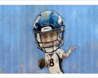 Peyton Manning, Denver Broncos, Super Bowl 50 Art Photo Print.