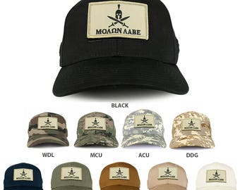 Armycrew Spartan Stone Molon Labe Tactical Patch Structured Operator Baseball Cap (T75-73616)