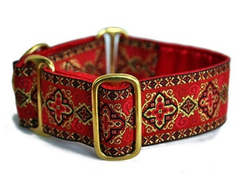 Martingale Dog Collar or Buckle Dog Collar - Custom Dog Collar - Wide Martingale Collar -  Nobility Jacquard in Red - 1.5 Inch