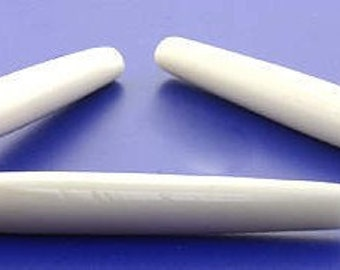 "2 1/2"" High Quality Natural Ivory Color Bone Hairpipe Beads 25 pcs"