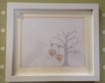 UK Seller: 1st Anniversary gift paper, lyrics tree and initials.