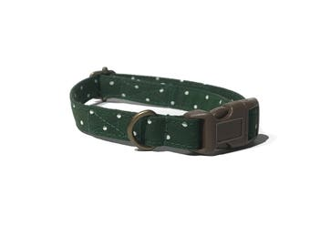 The Olive - Vintage Olive Green White Polka Dot Organic Cotton CAT Collar Breakaway Safety - All Antique Metal Hardware