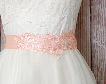 Peach Venice Lace Sash, Simple Peach Lace Sash Belt,Wedding Peach Sash, Bridal Headband, Head tie, Bridesmaid Sash // SH-07