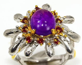 Wonderful art Natural Amethyst 925 Sterling Silver Ring Size 7.25