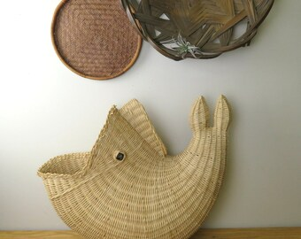Vintage Structured Wicker Fish Opened Mouth Basket Decor