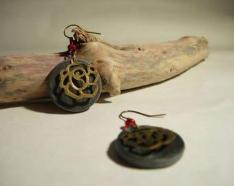 Slate Flower Earrings bronze