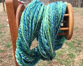 Handspun merino yarn, hand-dyed art yarn, blue green, plyed, 175 yards