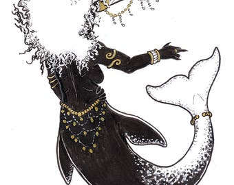 Original Art: Narwhal Mermaid - unicorn mermaid gold accents