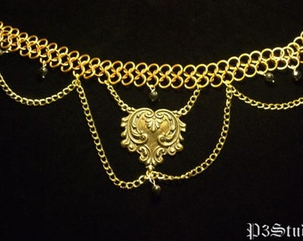 Bronze, Brass, Gold, and Hematite - Chainmail Choker with Crest