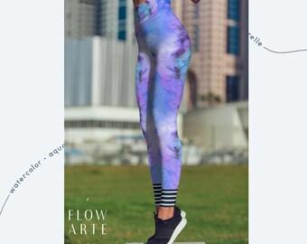 Festival Clothing, Yoga leggings, women's yoga pants, violet ladies leggings, high waisted spandex tights, best leggings, high waistband,