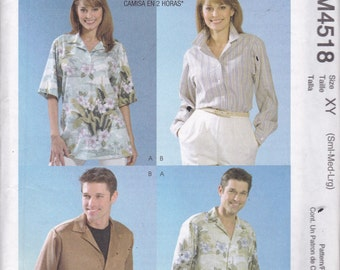 McCalls 4518 Vintage Pattern Womens Button Up Blouse In 4 Variations Size Small, Med. Large UNCUT