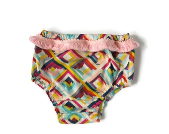 Iris Modern Baby Bloomers -Nappy Cover, Diaper Cover, Fringe Trim, Modern Baby, Geometric