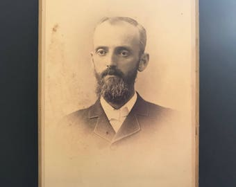 Antique Photo- black and white-cabinet card-Mid-late 1800's-man-vintage-craft-collectable-rochester ny