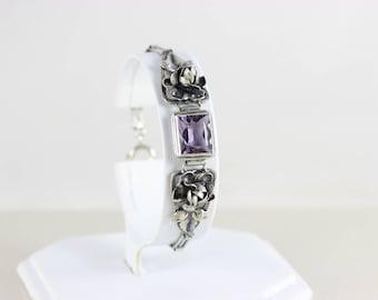 Sterling Silver Amethyst Flower Bracelet Scandinavian Arts and Crafts Movement 830 Silver