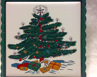 Vintage Christmas hot plate Cathay tile cast iron.