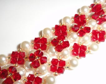 Red and white Cuff Bracelet Pearl Crystal beads and Swarovski pearls embroided