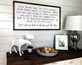 Love Grows Best in Little Houses Sign   Large Framed Wood Sign   Family Room Decor   Wooden Wall Decor   Inspirational Sign   2 ft by 4 ft