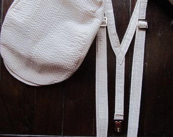 Boys Newsboy Hat and Suspenders, Cotton 2 Piece Set: Ring Bearer Suspenders, and Newsboy hat. Wedding Outfit for Ringbearer