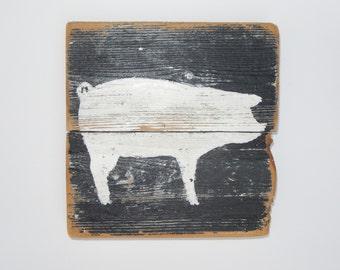 Farm Art PIG on Reclaimed Picket Fencing Wood