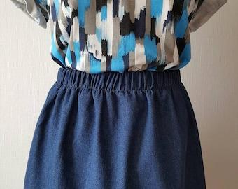 Gathered denim mini skirt, elasticated waist mini skirt, denim skirt, short denim skirt,size 14 (UK), gathered skirt