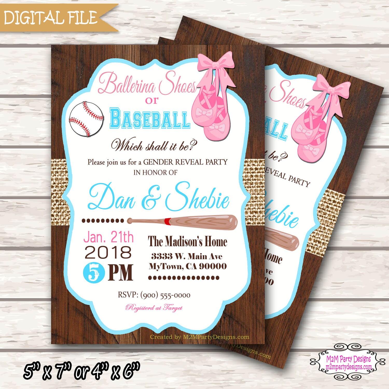 Baseball or Ballerina Gender Reveal Invitation Printable