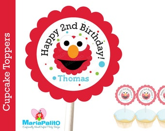 Elmo Cupcake Toppers, 12 Personalized  Elmo Inspired Cupcake toppers  A1062
