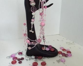 Pink Lover's Multiple Strands Necklace