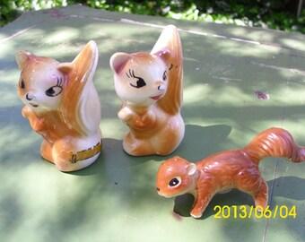 Antique Squirrel Salt & Pepper Shakers-1940's
