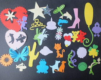 Pack of Children's die cut shapes for journals scrapbooks cards