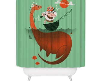 Kids Shower Curtain, Loch Ness Monster Shower Curtain, Nessie Shower Curtain 72 x 72, Funny Serpent Curtain, Nautical Theme Bathroom Decor