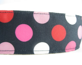 Black with Red White and Pink dots extra large hemp dog collar