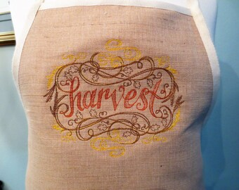 Machine Embroidered HARVEST Fall Apron