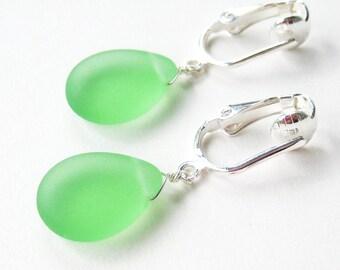 Frosted Green Teardrop Clip-on Earrings Matte Light Green Glass Drop Clip Earrings Silver Simple Dangle Non Pierced Earrings, Iced Moss
