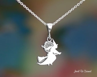 """Sterling Silver Witch Silhouette Necklace 16-24"""" or Pendant Only .925"""