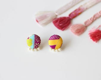 Kimono fabric earrings, button earrings, Japanese earrings, Japanese accessory, Kimono accessory, friends gift