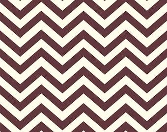 Organic Brown Chevron Fabric - Birch Mod Basics 1/2 Yard