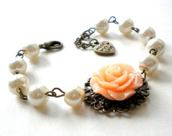Will You Be My Maid Of Honor Gift Peach Bridesmaid Bracelet Bridal Party Gifts Maid Of Honor Bracelet Peach Wedding Jewelry Flower Bracelet