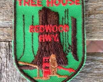 Tree House Redwood Highway Vintage Travel Souvenir Patch from Voyager - LAST ONE!