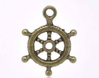 10 Pieces Antique Bronze Ship's Wheel Charms