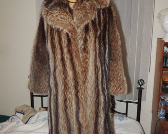 Lovely Vintage Raccoon Fur Coat Genuine VGUC Small