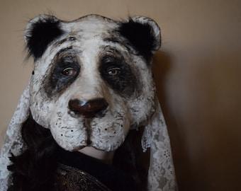 Panda mask, bear mask, Halloween mask, Masquerade mask, Paper mache mask, Paper mask, Bear costume